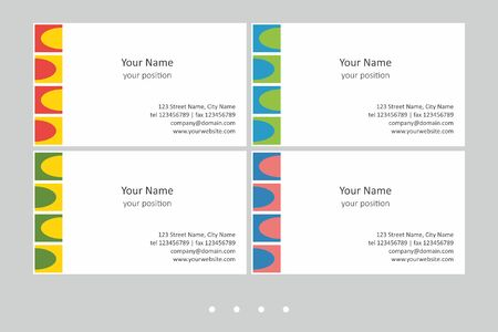 Set of multicolor business card templates. Simple geometric abstract design and attractive colors - just add your text.