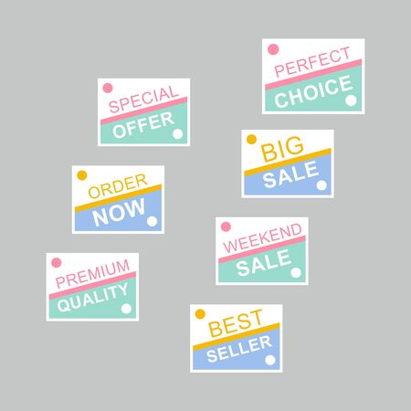 Template sale set. Colorful abstract geometric design for stickers, web page ads, tags, discount offer price labels, badges, coupons, flyers etc. Stock Illustratie