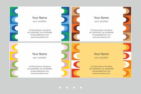 Colorful business card template. Timeless geometric style in four expressive color schemes – just add personal data.