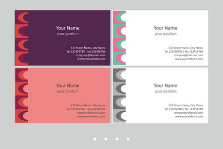 Colorful business card template. Timeless geometric style in four expressive color schemes - just add personal data.