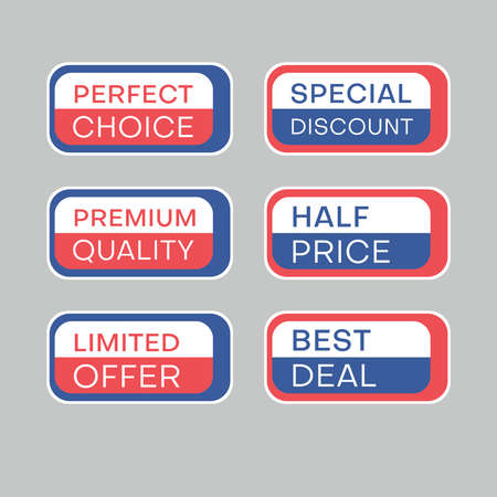 Set of discount labels to attract customers' attention. Timeless easy-to-read design. Also suitable for web page ads, tags, discount offer price labels, badges, coupons, flyers etc. 일러스트