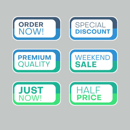 Set of discount labels to attract customers' attention. Timeless easy-to-read design. Also suitable for web page ads, tags, discount offer price labels, badges, coupons, flyers etc.