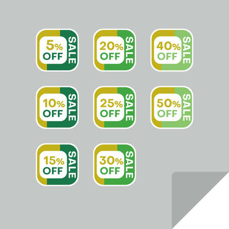 Set of discount labels to attract customers' attention. Timeless easy-to-read design. Also suitable for web page ads, tags, discount offer price labels, badges, coupons, flyers etc. Illusztráció