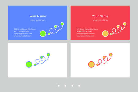 Timeless business card template. Simple hand-drawn ornament and two expressive color schemes - just add personal data.