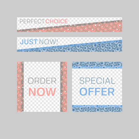 Modern abstract vector frames. Editable design templates for web, social media, promo, ads, banners etc. fivo sans