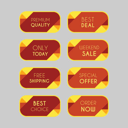 Colorful discount labels set. Timeless easy-to-read design to attract customers' attention. Suitable for web page ads, tags, discount offer price labels, badges, coupons, flyers etc. Illustration