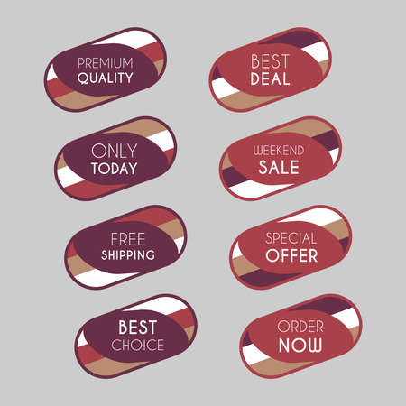 Colorful discount labels set. Timeless easy-to-read design to attract customers' attention. Suitable for web page ads, tags, discount offer price labels, badges, coupons, flyers etc. Banque d'images - 158771420