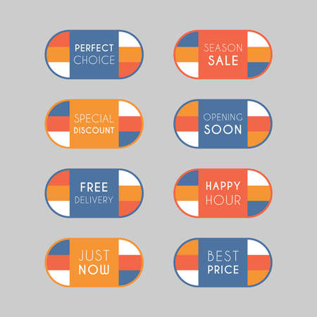 Colorful discount labels set. Timeless easy-to-read design to attract customers' attention. Suitable for web page ads, tags, discount offer price labels, badges, coupons, flyers etc. Banque d'images - 158771424