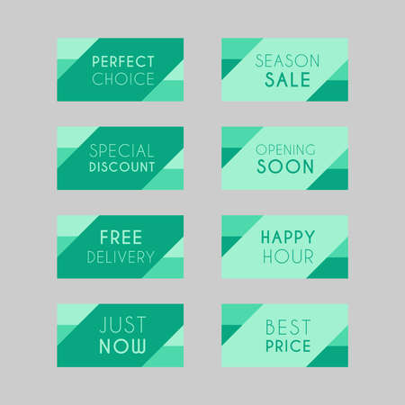 Colorful discount labels set. Timeless easy-to-read design to attract customers' attention. Suitable for web page ads, tags, discount offer price labels, badges, coupons, flyers etc. Banque d'images - 158771430