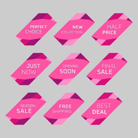 Colorful discount labels set. Timeless easy-to-read design to attract customers' attention. Suitable for web page ads, tags, discount offer price labels, badges, coupons, flyers etc. Banque d'images - 158771435