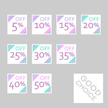 Set of editable discount labels with percent symbols. Geometric simplicity - universal design for web shops, printed stickers, tags, price labels, badges, coupons, flyers etc. Illusztráció