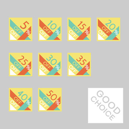 Set of editable discount labels with percent symbols. Geometric simplicity - universal design for web shops, printed stickers, tags, price labels, badges, coupons, flyers etc. Ilustração