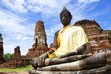 Buddha image at Historic temple of Thailand photo