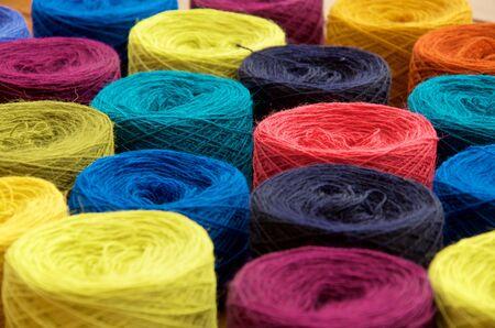 multiple: multiple color of yarn balls.