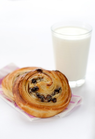 Pastry rolls with a glass of milk