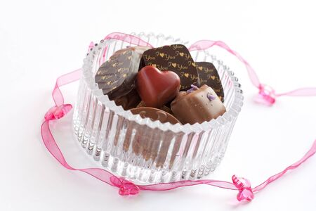 Assortment of belgian pralines in a glass bowl