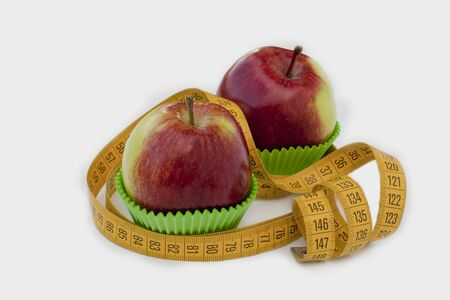 Two apples in baking cups Stock Photo