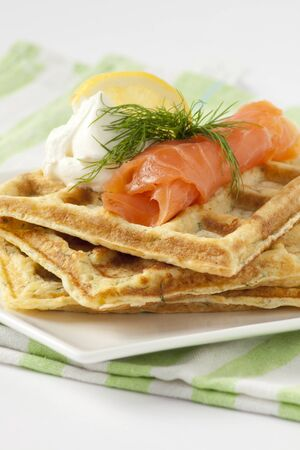 waffles with salmon Stock Photo