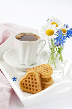 Breakfast with waffles and coffee photo