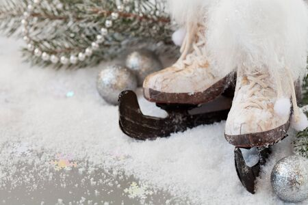 Christmas decoration with skates Stock Photo