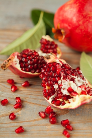 pomegranates: Ripe broken pomegranate