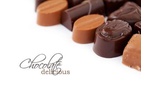 Chocolate assortment on white