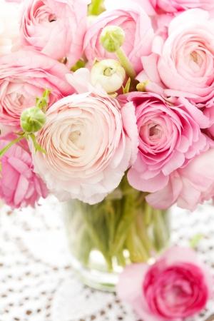 Pink ranunculus in vase Stock Photo