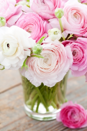 White and pink ranunculus (buttercup) in vase. Selective focus