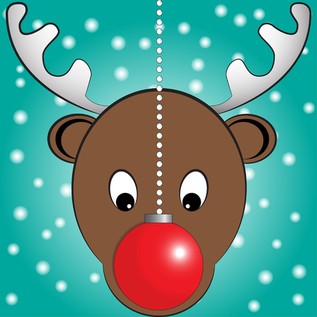 Vector illustration of Rudolph, red nosed reindeer with christmas ball in front of his face