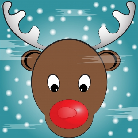 Vector illustration of Rudolph, red nosed reindeer with his nose against glass  Illustration