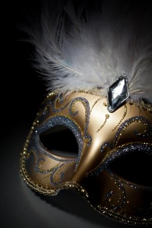 Carnival mask in spotlight on black background