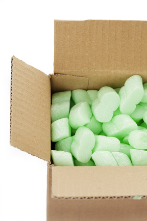 A cardboard box with packing foam pellets Stock Photo - 26001028