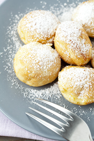 Traditional danish pancakes - ebelskivers Stock Photo