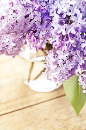 Bunch of beautiful lilac in vase, toned Stock Photo