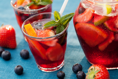 Refreshing sangria (punch) with fruits Stock Photo