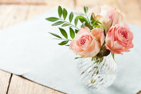 vase: Bouquet of beautiful roses in vase