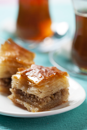 filo pastry: Handmade baklava, traditional turkish pastry Stock Photo