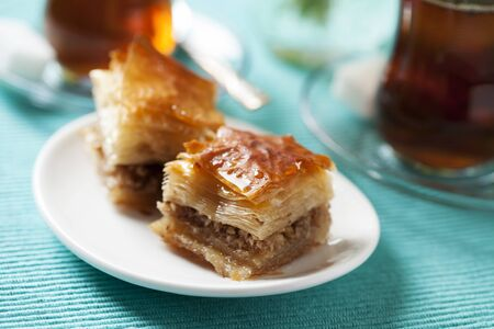 yufka: Handmade baklava, traditional turkish pastry Stock Photo