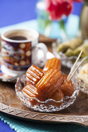 yufka: Tulumba tatlisi - traditional Turkish dessert Stock Photo