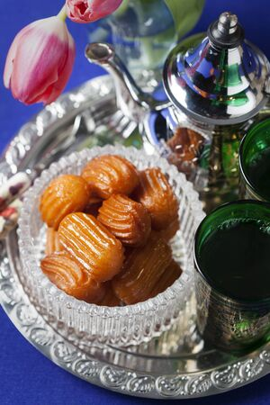 turkish dessert: Tulumba tatlisi - traditional Turkish dessert Stock Photo