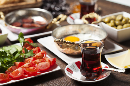 Travel concept: setup with traditional turkish breakfast 스톡 콘텐츠