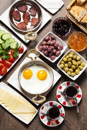 Travel concept: setup with traditional turkish breakfast Reklamní fotografie