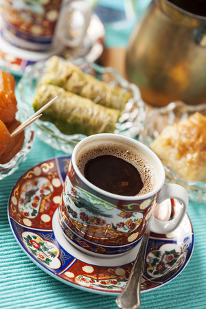filo pastry: Variety of oriental sweets with cup of coffee