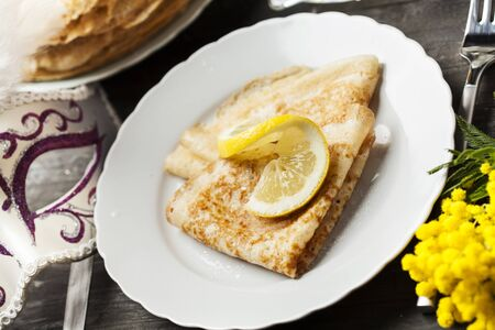 shrove: English-style pancakes with lemon and sugar, traditional for Shrove Tuesday