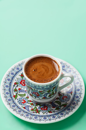 Black coffee in traditional Turkish cup with copy space Imagens - 116682258