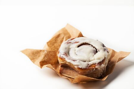 Home baked cinnamon roll/ cinnabon and on white background