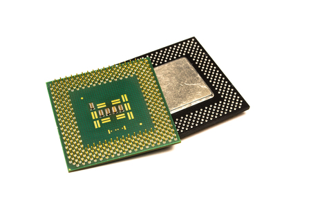 Processor chip. Computer component - cpu (central processing unit) isolated on white background. Foto de archivo