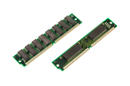 Memory module of computer isolated on white background. Obsolete old ram hardware.