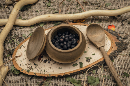 Herbal medicine concept. Phytotherapy. Wild black berry in the pot on wooden table background.