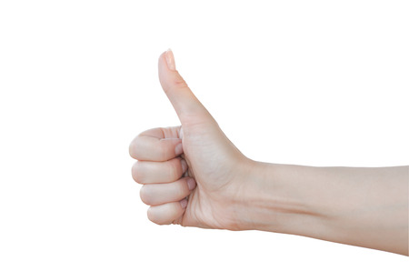 Thumbs up sign isolated on white. Banco de Imagens